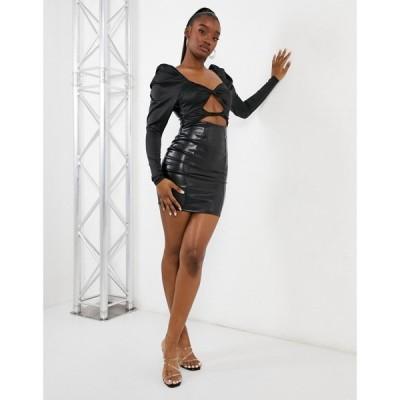 エイソス ASOS DESIGN レディース ワンピース ミニ丈 ワンピース・ドレス Pu & Satin Cut Out Twist Mini Dress With Long Sleeve In Black ブラック