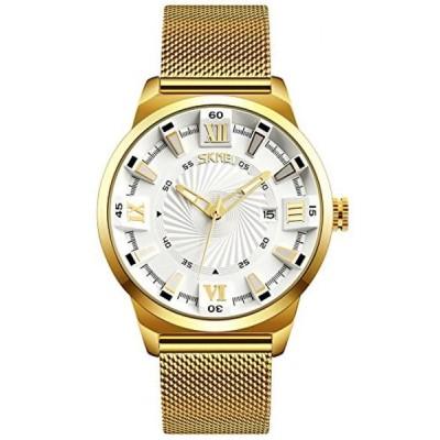 ファンミス 腕時計 メンズウォッチ Men's Luxury Analog Quartz Waterproof Wrist Watches Roman Numeral Dial IP Gold Plating Steel Calendar Watch (White)
