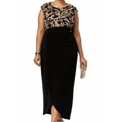 Gold ゴールド ファッション ドレス Connected Apparel NEW Black Gold Womens Size 14W Plus Shift Dress