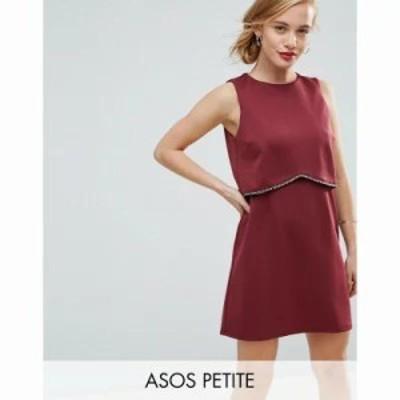エイソス ワンピース ASOS PETITE Scuba Crop Top with Embellished Trim Mini Dress Burgundy