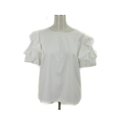 【中古】エムプルミエ M-Premier couture 18SS 半袖 カットソー バルーン袖 フリル 白 ホワイト 38 IBS71 レディース 【ベクトル 古着】