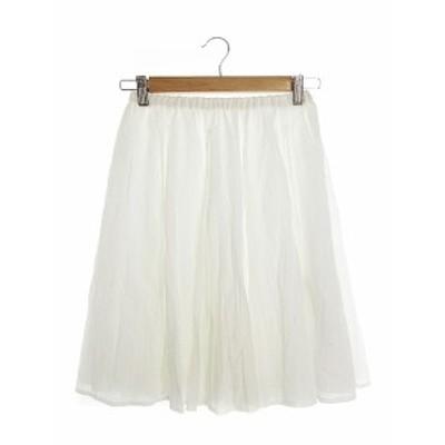 【中古】ジュエルチェンジズ Jewel Changes アローズ スカート ギャザー ひざ丈 白 ホワイト /AAM14 レディース