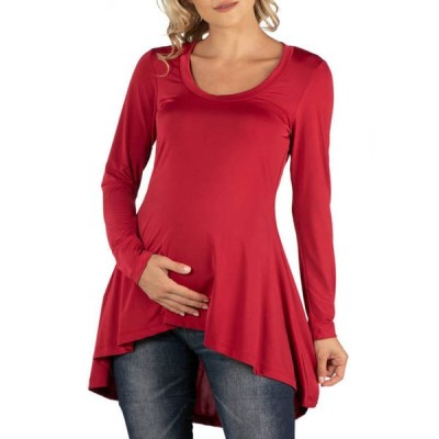 24セブンコンフォート レディース シャツ トップス Maternity Simple Long Sleeve High Low Tunic Top