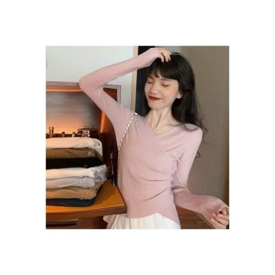【送料無料】秋 年 レディース 韓国風 不規則な 襟 長袖セーター 着やせ 西洋風 ボト | 364331_A63707-8072141