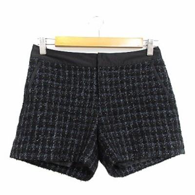 【中古】グリーンレーベルリラクシング ユナイテッドアローズ パンツ ショート ツイード ラメ 36 黒 ブラック /AAM11