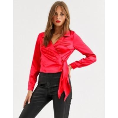 エイソス レディース シャツ トップス ASOS DESIGN long sleeve wrap shirt in satin Red