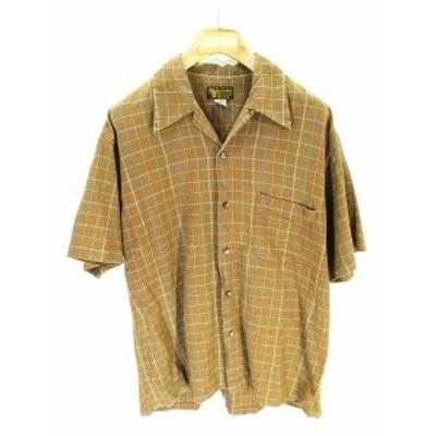 【中古】スタイルアイズ STYLE EYES オープンカラー シャツ 半袖 チェック 茶 ブラウン L QW メンズ