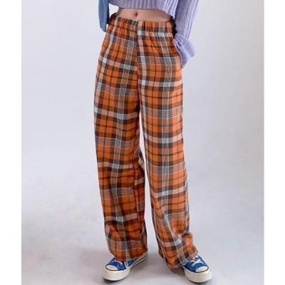MIXXMIX レディース パンツ Wide-Leg Check Pants