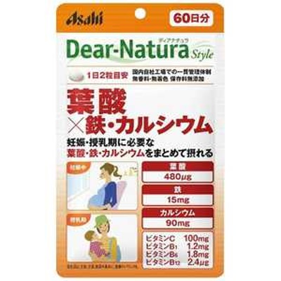 アサヒグループ食品 DN Dear-Natura(ディアナチュラ)ディアナチュラスタイル 葉酸x鉄・カルシウム60日 〔栄養補助食品〕 DNSTヨウサンテツカルシウム