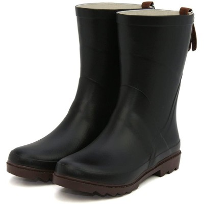 [セレブル] 日本製 やわらか レインブーツ レディース ショート おしゃれ 長靴 かわいい ラバーブーツ 本革タッセル付き ブラック S