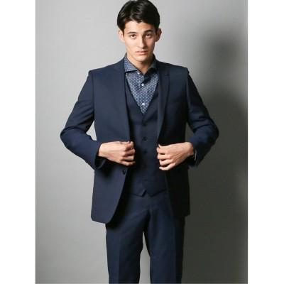 (TAKA-Q/タカキュー)光沢スリムフィット3ピーススーツ ジオメトリック青/メンズ ブルー