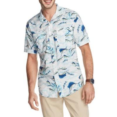 アイゾッド メンズ シャツ トップス Saltwater Printed Performance Beach Button Up Shirt