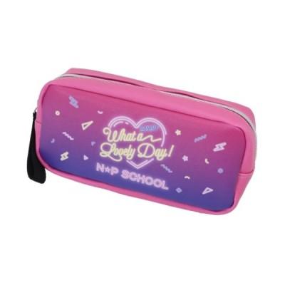 筆箱 BOX ペンケース ニコプチスクール Cビビッド×ネオンサイン柄 n☆p school サンスター文具 19×9×5.5cm