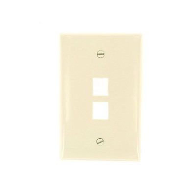 Leviton 41091-2TN QuickPort Midsize Wallplate, Single Gang, 2-Port, Light A