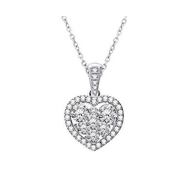 14K ホワイト ゴールド Pave セット ハート ダイヤモンド ペンダント ネックレス (0.65 Carat)(海外取寄せ品)