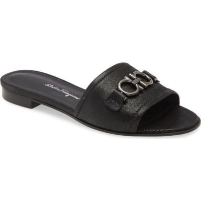 サルヴァトーレ フェラガモ SALVATORE FERRAGAMO レディース サンダル・ミュール スライドサンダル シューズ・靴 Rhodes Slide Sandal Black Natural