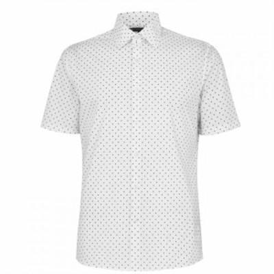 マイケル コース Michael Kors メンズ 半袖シャツ トップス Short Sleeve Casual Shirt White