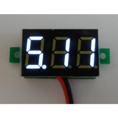 小型デジタル電圧計 白 3.0-30V【簡単2線式/埋め込み型】