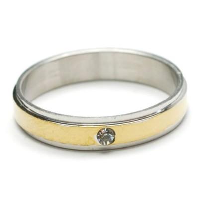 細め 1ラインストーン付き バイカラー ステンレス リング 指輪 レディース メンズ アクセサリー p30-ri594