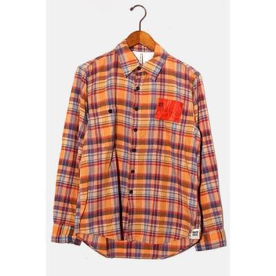 【中古】未使用品 KATO` カトー チェック柄長袖シャツ S オレンジ系 /◆ メンズ 【ベクトル 古着】
