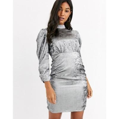 ヴィラ Vila レディース ワンピース ミニ丈 ワンピース・ドレス mini dress with ruched sleeves in silver シルバー