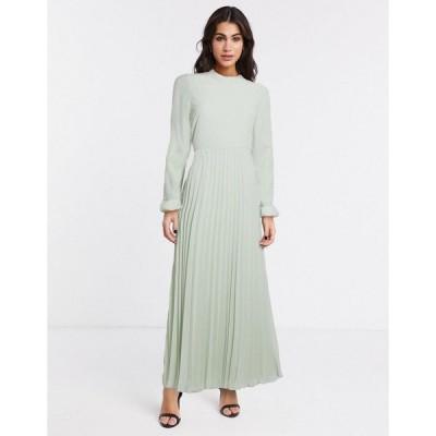 エイソス レディース ワンピース トップス ASOS DESIGN pleated maxi dress with fluted sleeve in green Pistachio green