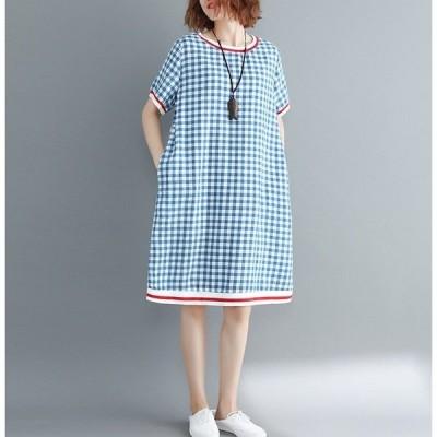 ギンガムチェック ワンピース レディース きれいめ  ゆったり 五分袖 夏 大きいサイズ 体型カバー 着やせ ひざ丈