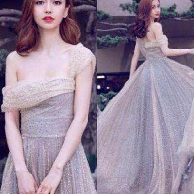 パーティードレス ワンピース お呼ばれ ローブデコルテ 結婚式 二次会 ワンショルダー スパンコール 20代 30代 40代 ロングドレス