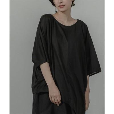 ミエット miette 異素材MIXアシメドレープTシャツ (ブラック)