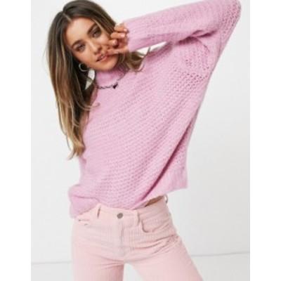 エイソス レディース ニット・セーター アウター ASOS DESIGN sweater in open stitch and high neck in pink Pink