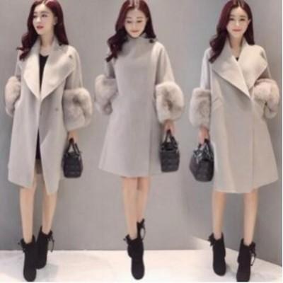 超特別限定価格 チェスターコート レディース 大きいサイズ 袖盛ファー付き ロングコート 体型カバー 秋冬アウター