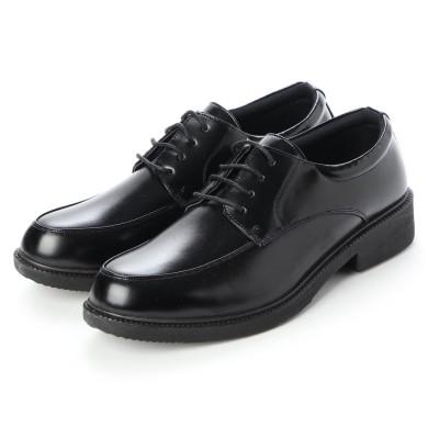 ウィルソン Wilson_ ビジネスシューズ メンズ 軽量幅広 Uモカ 紳士靴 (BLACK)