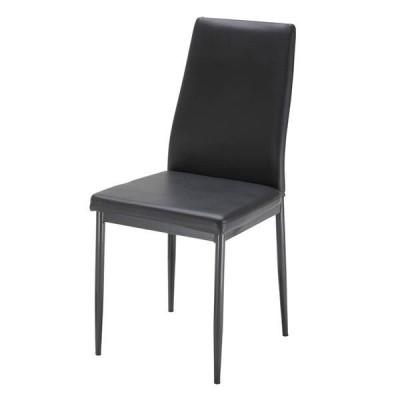 【数量限定特別価格】ダイニングチェア ブラック色2脚セット販売 おしゃれチェア 食卓椅子 合皮チェア チェスチェア ブラック色 完成品 送料無料