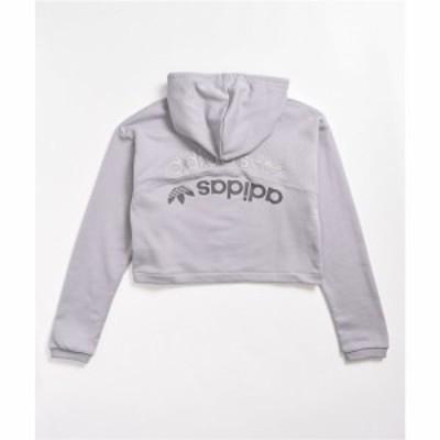 アディダス ADIDAS レディース パーカー クロップド トップス adidas R.Y.V. Grey Cropped Hoodie Grey