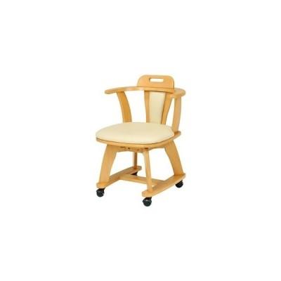 ds-2374542 キャスター付き 回転ダイニングチェア ナチュラル チェア 椅子 回転式 天然木 〔リモートワーク 在宅勤務 パソコンチェア〕 組立品