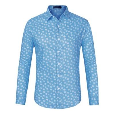 uxcell メンズ 柄シャツ アロハシャツ 花柄 長袖 ハワイ風 ボタンダウン 綿 カジュアル ライトブルー S