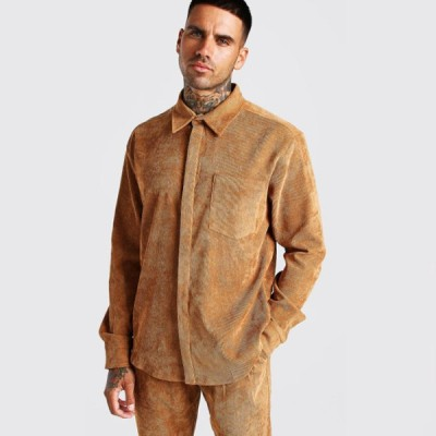 boohoo(ブーフー)長袖 特大コード シャツ 大きいサイズあり 流行 最新