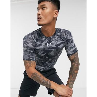 アンダーアーマー メンズ Tシャツ トップス Under Armour HeatGear camo T-shirt in black Black