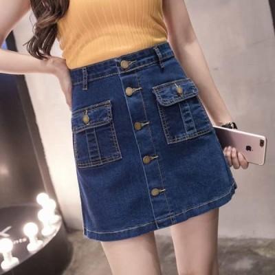 ボタンデザイン カジュアルなミニ丈デニムスカート(ネイビー)春夏 普段使い 買い物