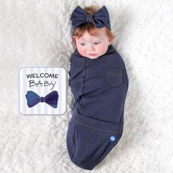 BABY joe - 穿套式實用造型包巾套組 - 蝴蝶結丹寧小姐