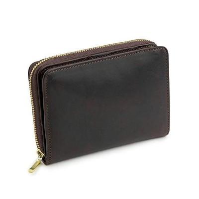 [アビエス] ABIES L.P. 日本製 ヴィンテージワックスレザー 本革 ラウンドファスナー 二つ折り財布 … (ダークブラ