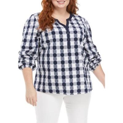 キム ロジャース レディース シャツ トップス Plus Size Checkered Long Sleeve Popover Top
