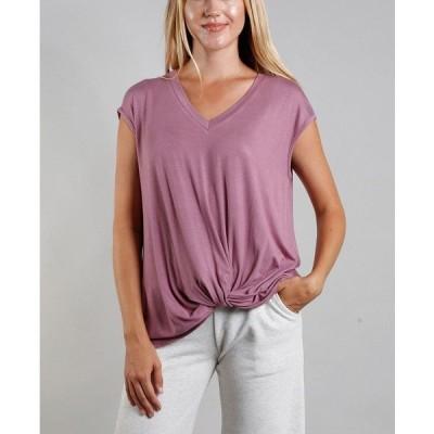 コイン1804 カットソー トップス レディース Women's V-Neck Twist Front T-shirt Mauve