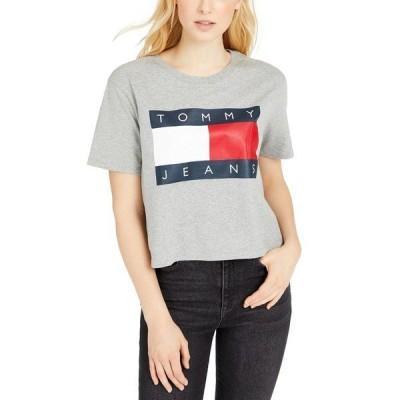 トミーヒルフィガー Tシャツ トップス レディース Cotton Flag Logo Cropped T-Shirt Heather Grey