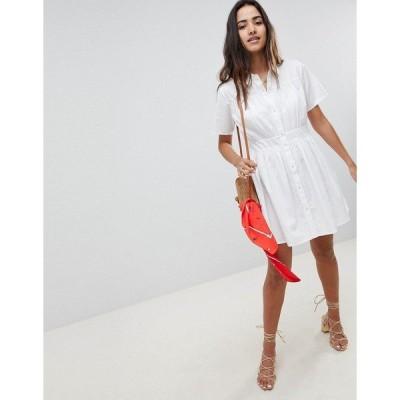 エイソス レディース ワンピース トップス ASOS DESIGN Cotton Casual Shirt Mini Dress White