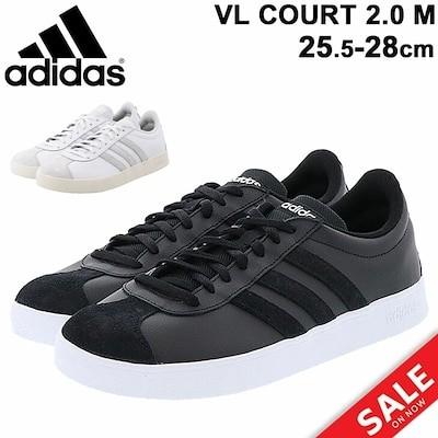 スニーカー メンズ コートスタイルシューズ アディダス adidas VL COURT 2.0 M/ローカット 靴 25.5-28cm くつ 白 ホワイト 黒 ブラック /VLCOUR