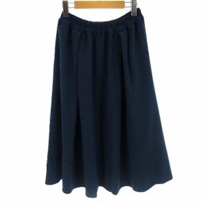 【中古】イエナ スローブ IENA SLOBE 18AW PE ギャザー フレア スカート ロング ブルー 青 レディース