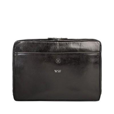 Maxwell Scott Personalized Luxury Leather 17 Inch Laptop Case - Davoli Black