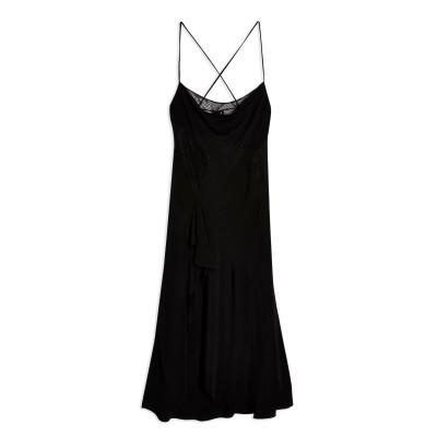 トップショップ TOPSHOP ロングワンピース&ドレス ブラック 12 ポリエステル 100% ロングワンピース&ドレス