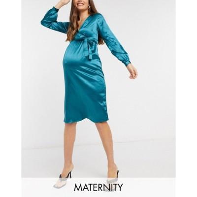 ママリシャス Mama.licious レディース ワンピース マタニティウェア ラップドレス Mamalicious Maternity satin wrap dress in teal ディープティール